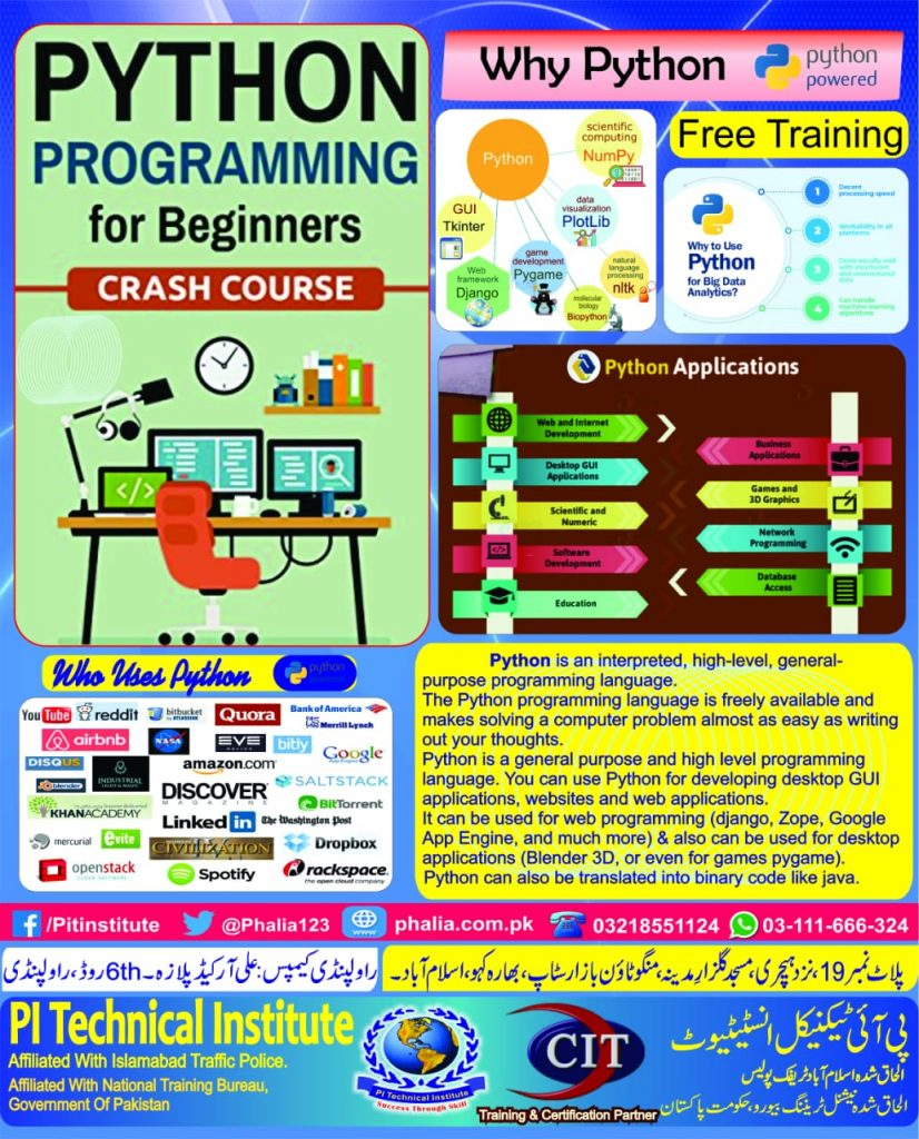 Python Programming Language Course is now Started @PI Technical Institute